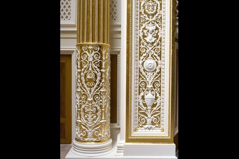 Ornamentation in the concert hall sings out in white paint and 24-carat gold leaf